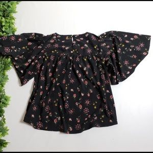 Lane Bryant Floral Top with Butterfly Sleeves